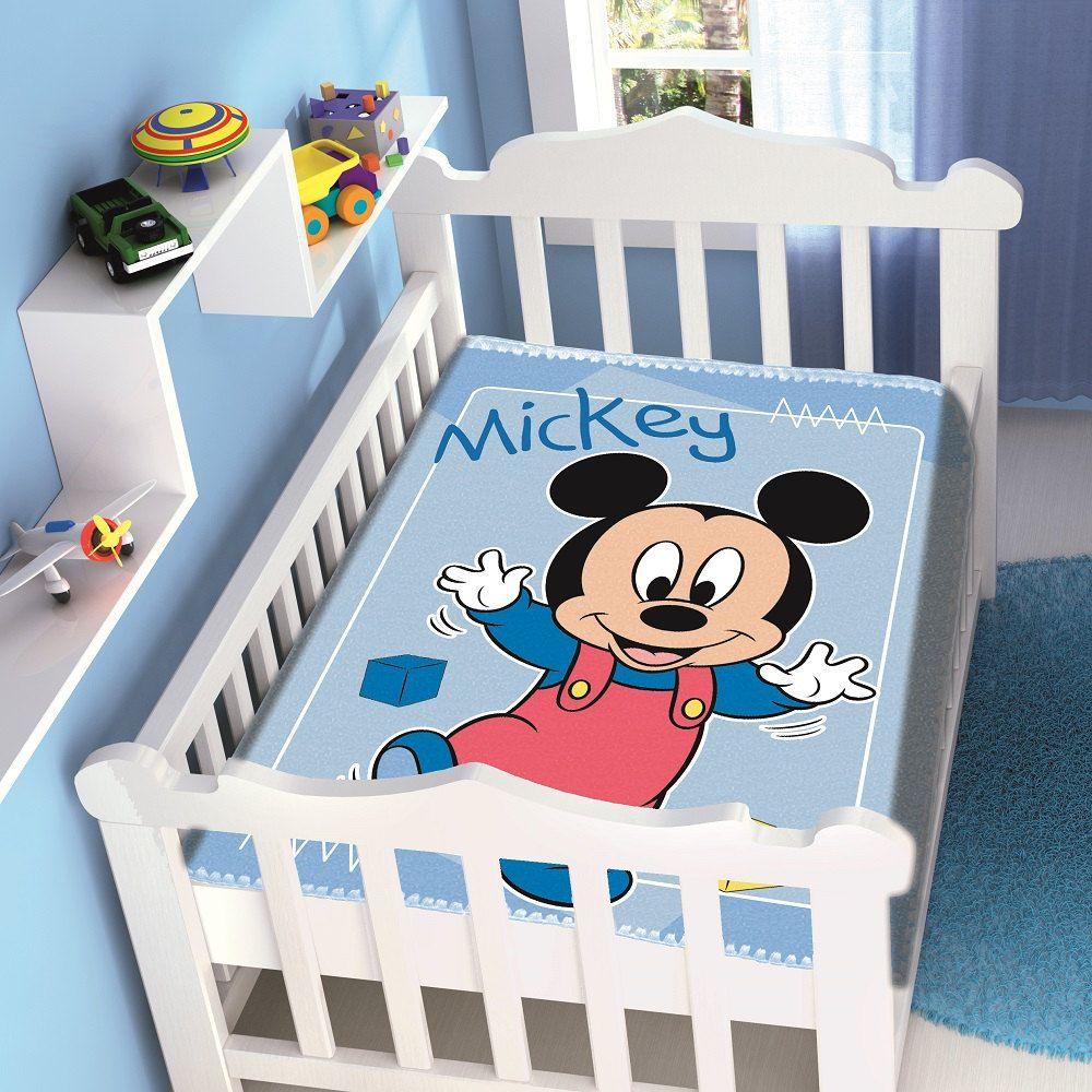 Cobertor Jolitex Infantil Berço Bebê Disney Mickey Passinhos Azul