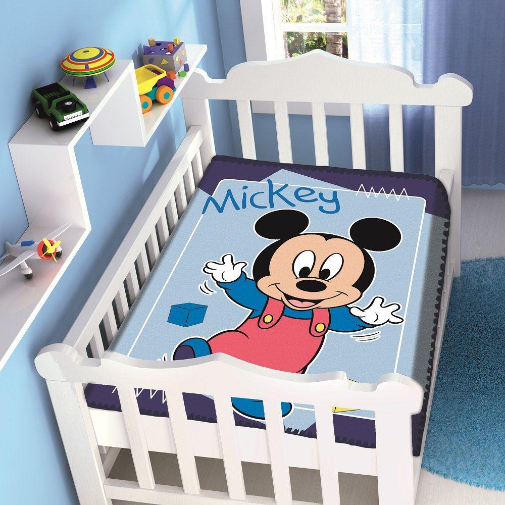 Cobertor Jolitex Infantil Berço Bebê Disney Mickey Passinhos Marinho