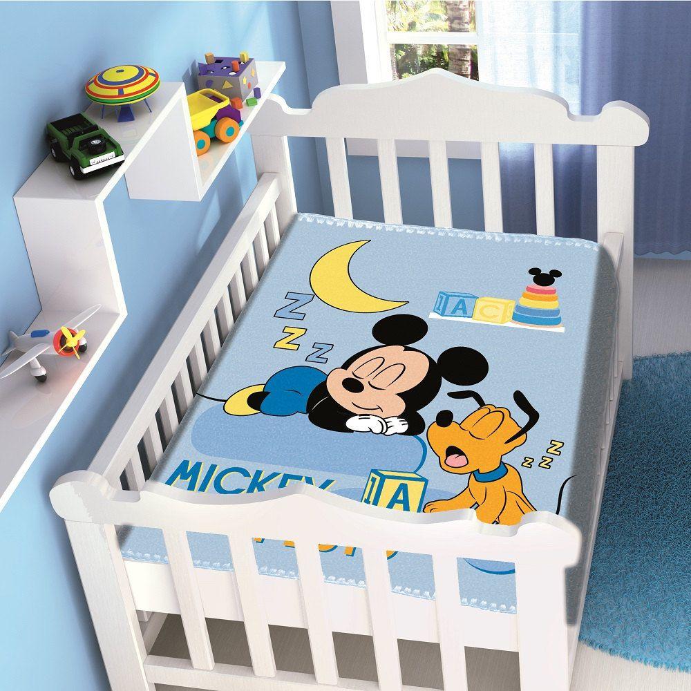 Cobertor Jolitex Infantil Berço Bebê Disney Mickey Sonhando Azul
