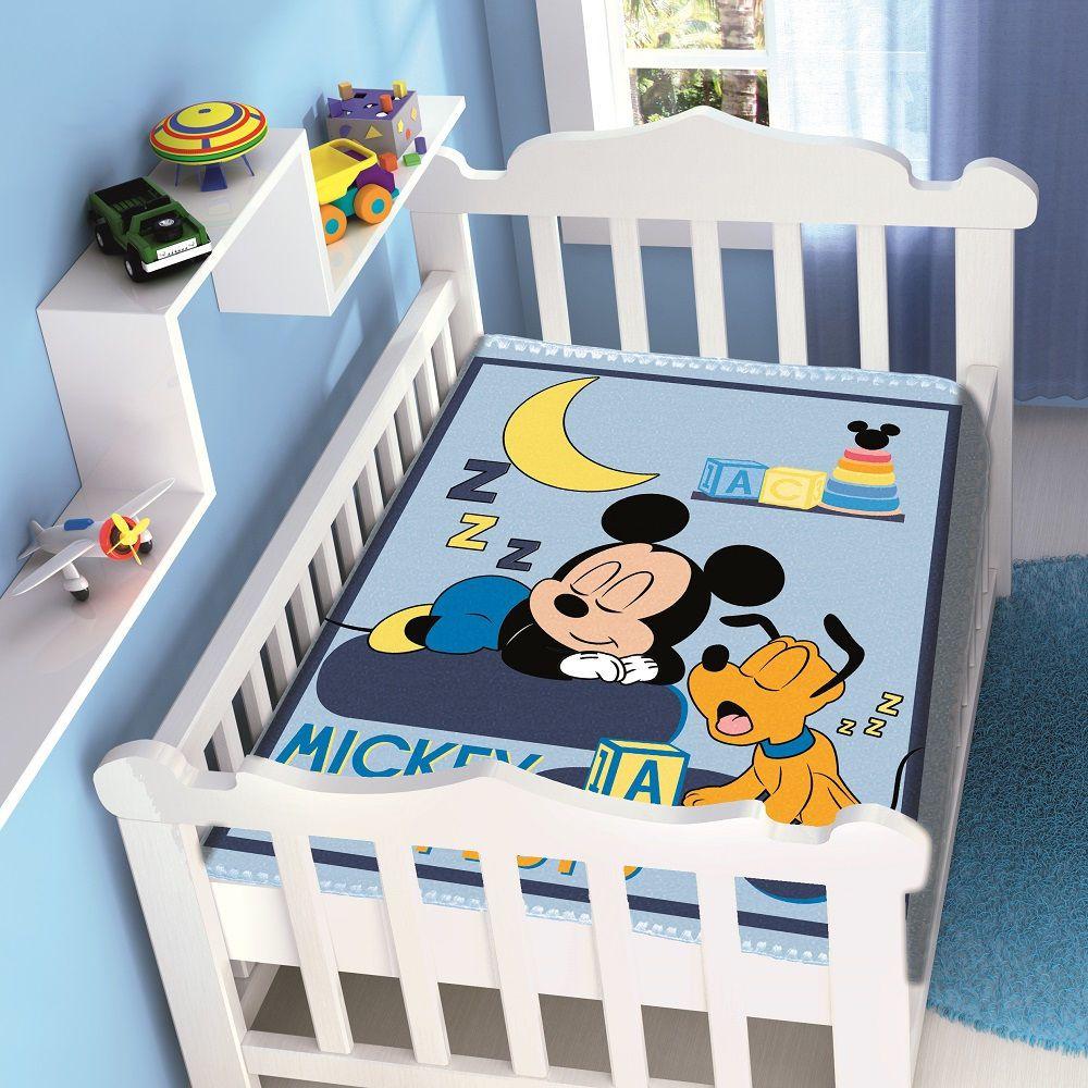 Cobertor Jolitex Infantil Berço Bebê Disney Mickey Sonhando Marinho