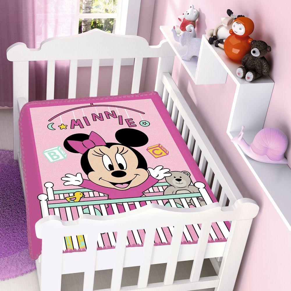 Cobertor Jolitex Infantil Berço Bebê Disney Minnie Bercinho Rosa