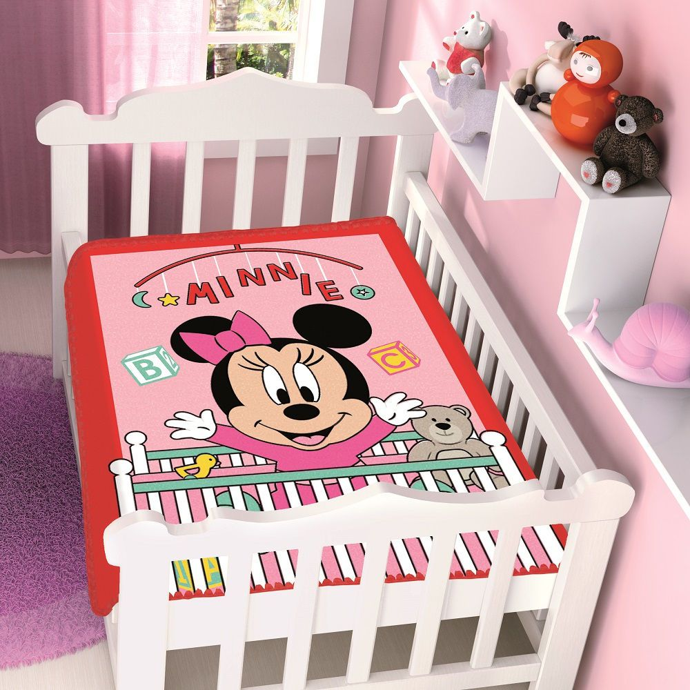 Cobertor Jolitex Infantil Berço Bebê Disney Minnie Bercinho Vermelho
