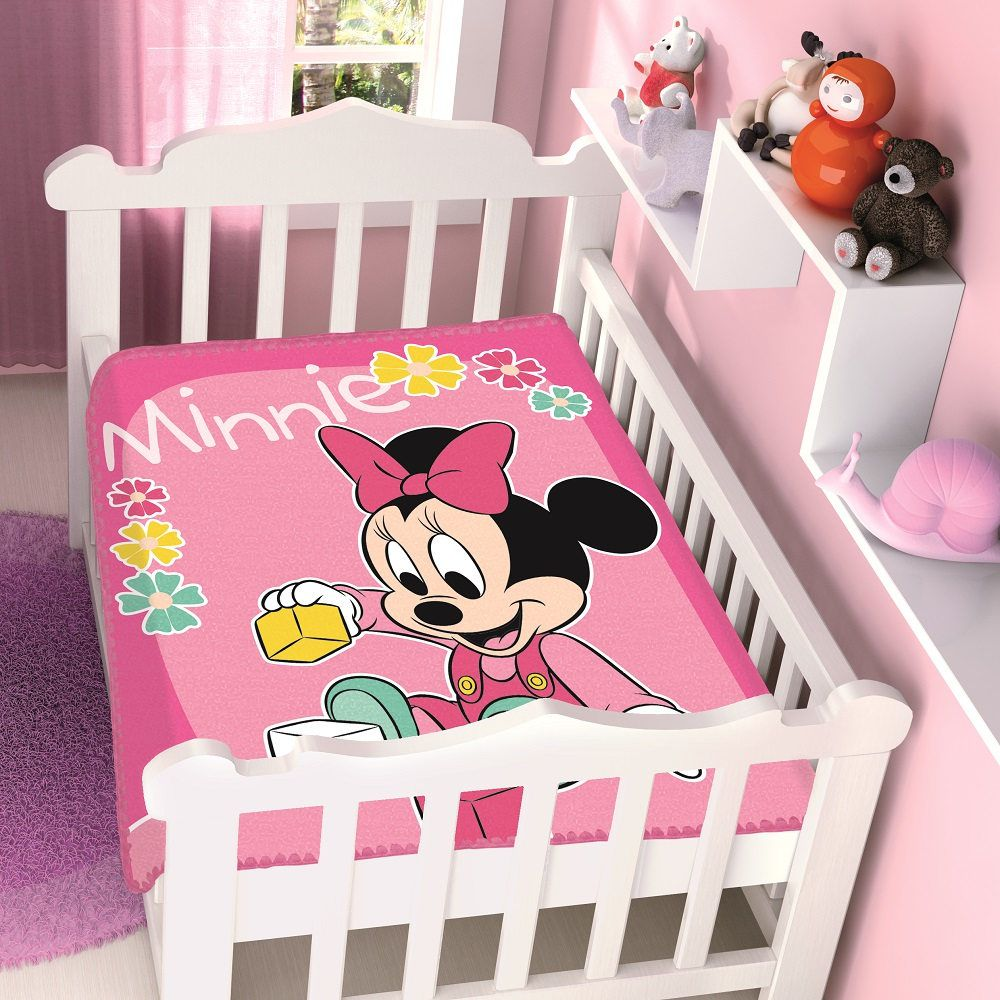 Cobertor Jolitex Infantil Berço Bebê Disney Minnie Brincando Rosa