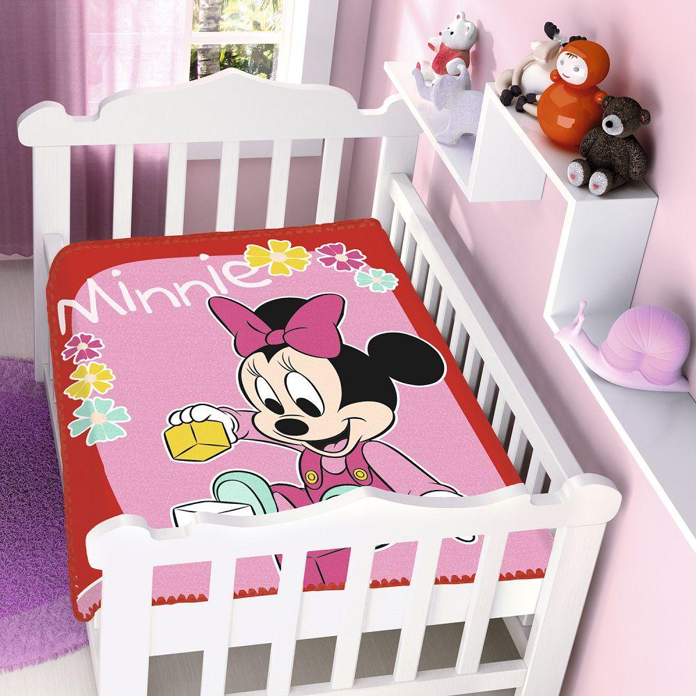 Cobertor Jolitex Infantil Berço Bebê Disney Minnie Brincando Vermelho