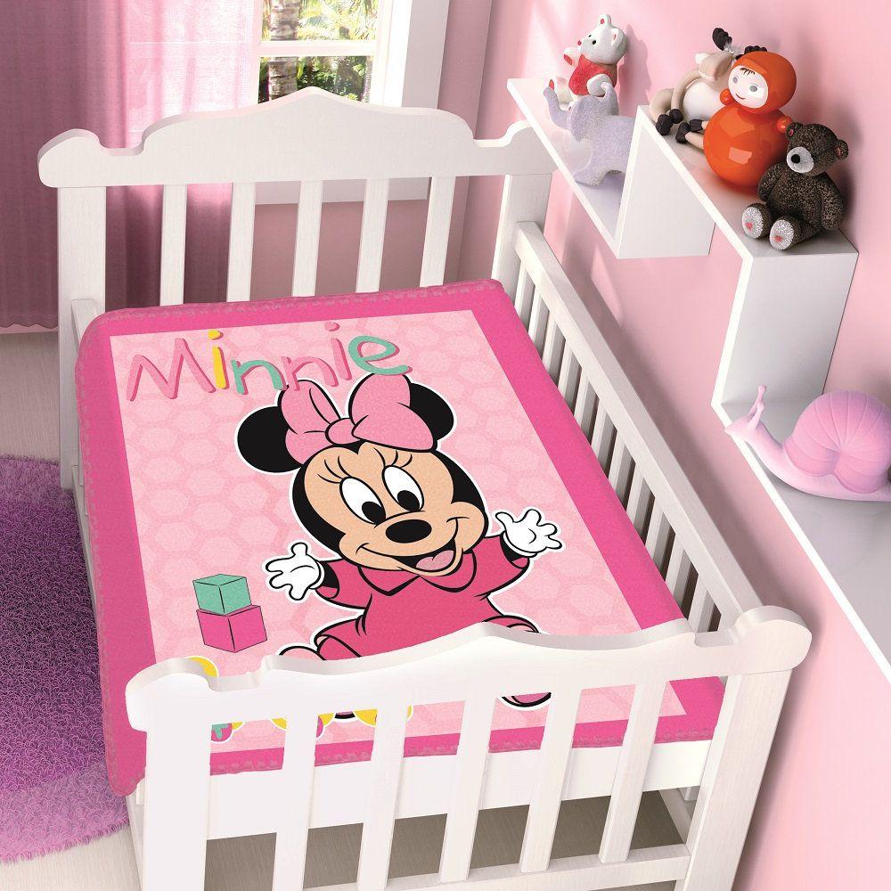 Cobertor Jolitex Infantil Berço Bebê Disney Minnie Patinhos Rosa