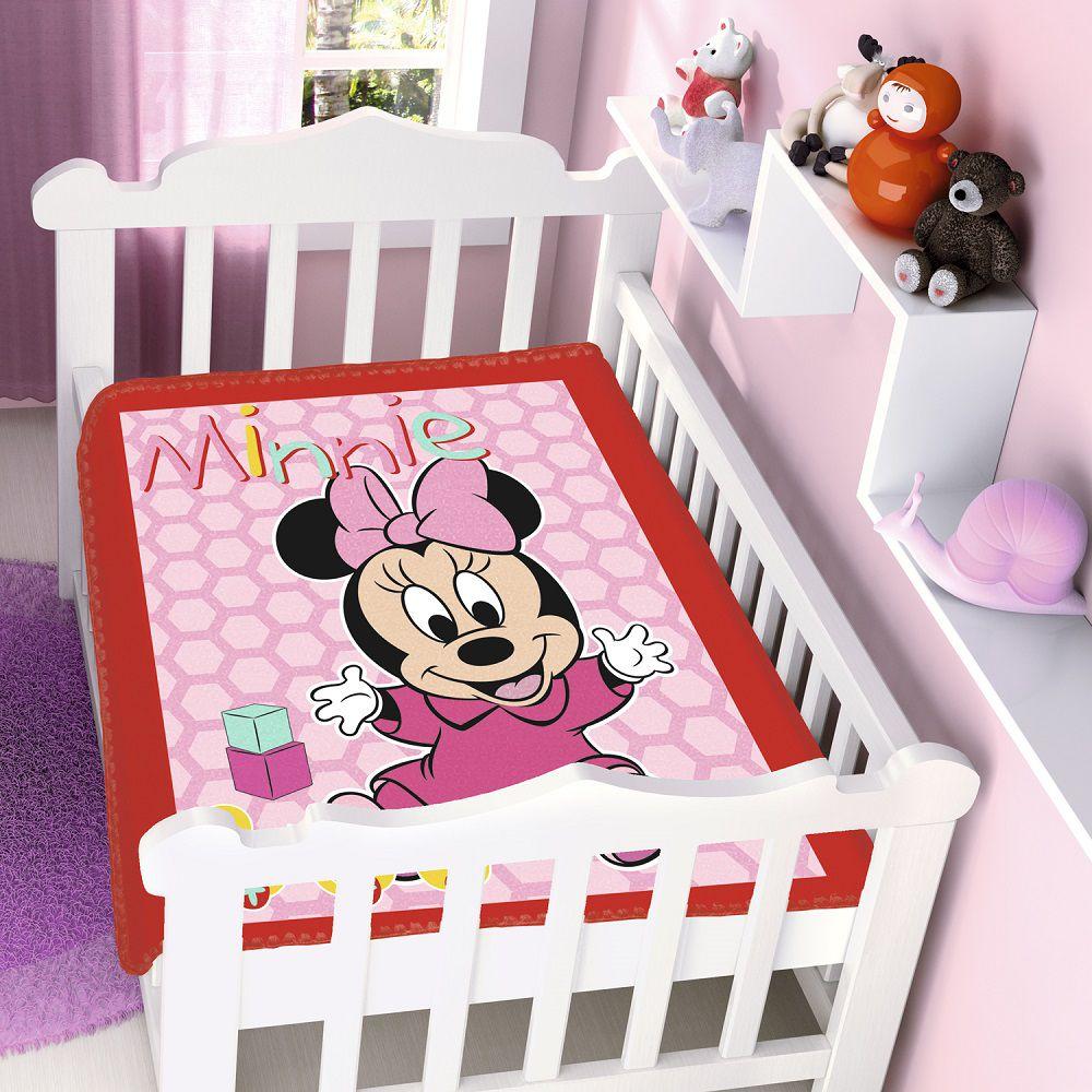 Cobertor Jolitex Infantil Berço Bebê Disney Minnie Patinhos Vermelho