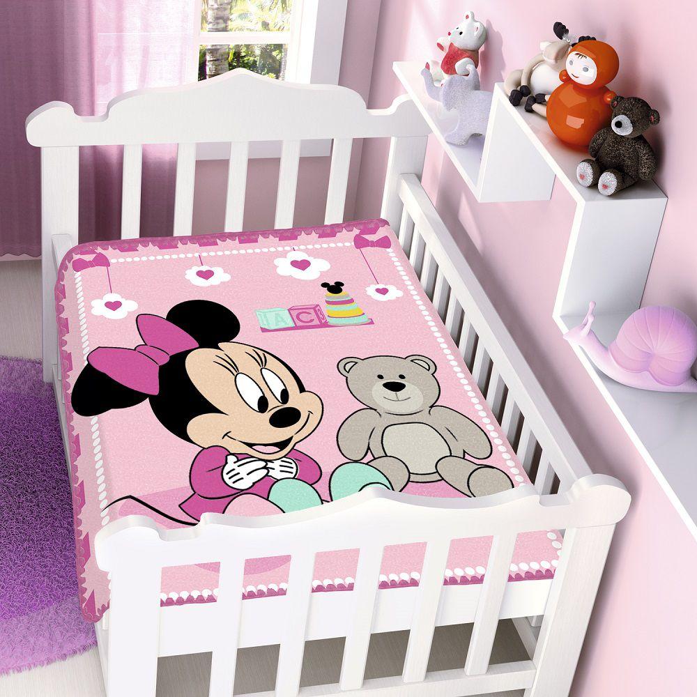 Cobertor Jolitex Infantil Berço Bebê Disney Minnie Surpresa Rosa