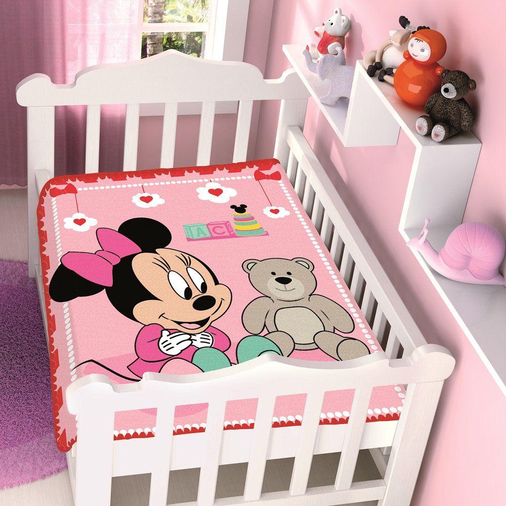 Cobertor Jolitex Infantil Berço Bebê Disney Minnie Surpresa Vermelho