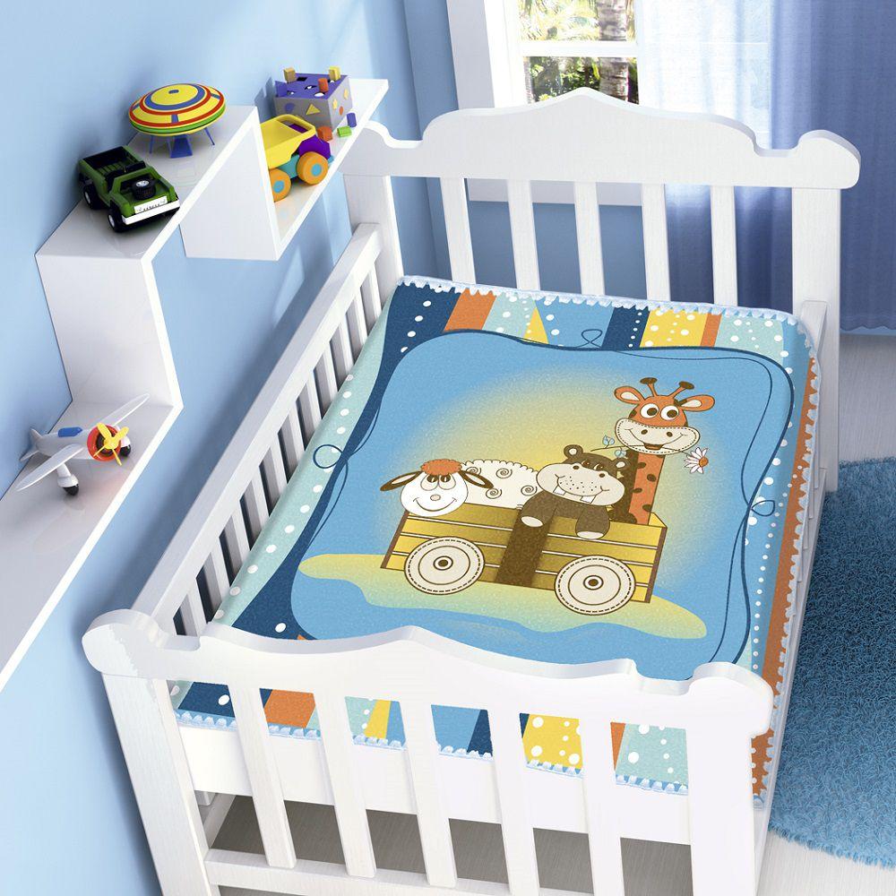 Cobertor Jolitex Infantil Berço Bebê Raschel Bichinhos Azul