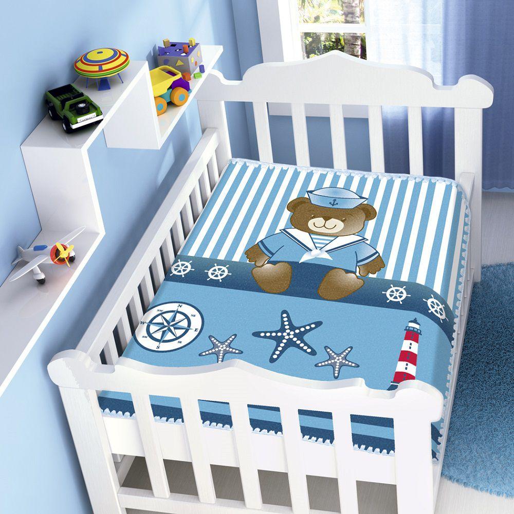 Cobertor Jolitex Infantil Berço Bebê Raschel Marinheiro Azul