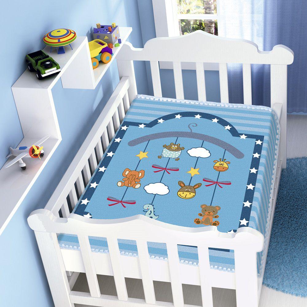 Cobertor Jolitex Infantil Berço Bebê Raschel Mobile Azul