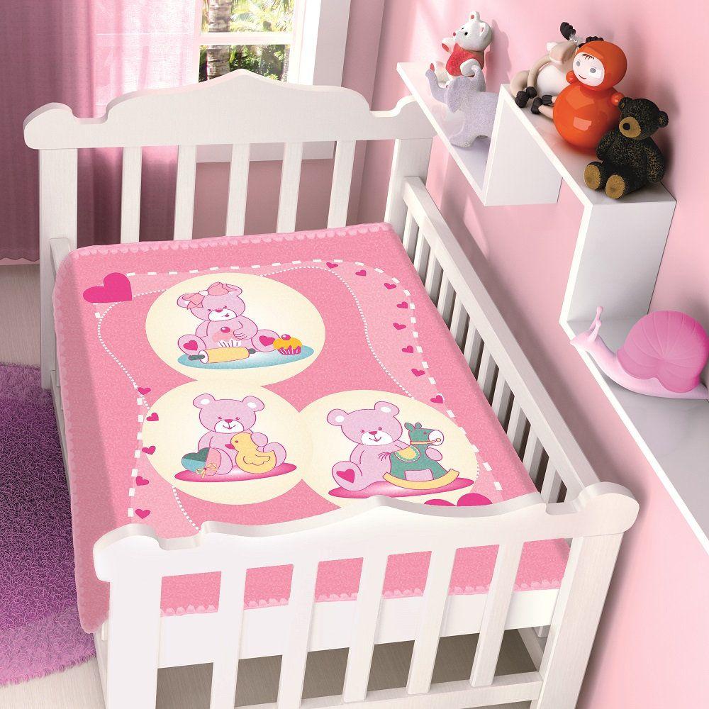 Cobertor Jolitex Infantil Berço Bebê Raschel Ursinhas Brincando