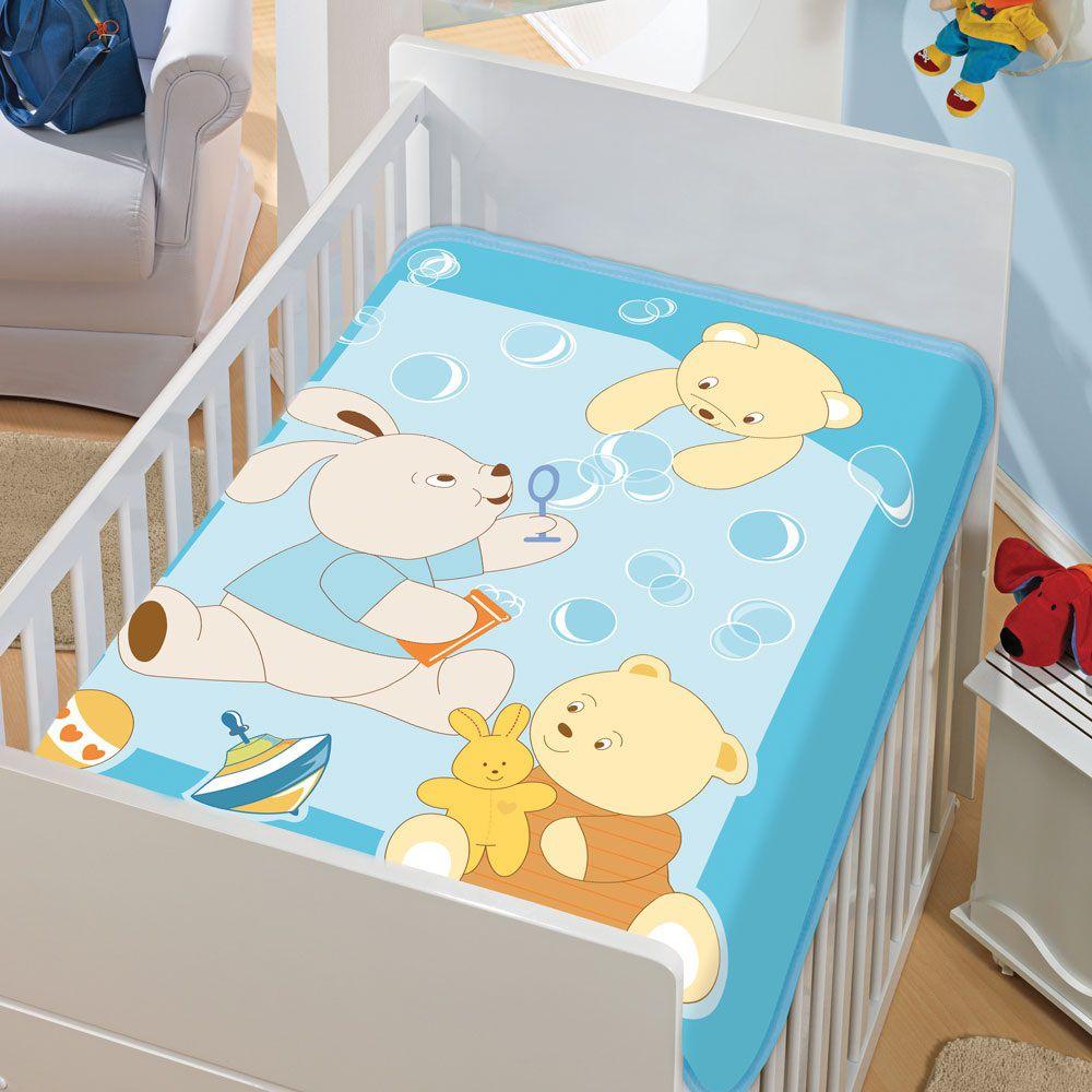 Cobertor Jolitex Infantil Berço Bebê Tradicional Bolinhas Sabão