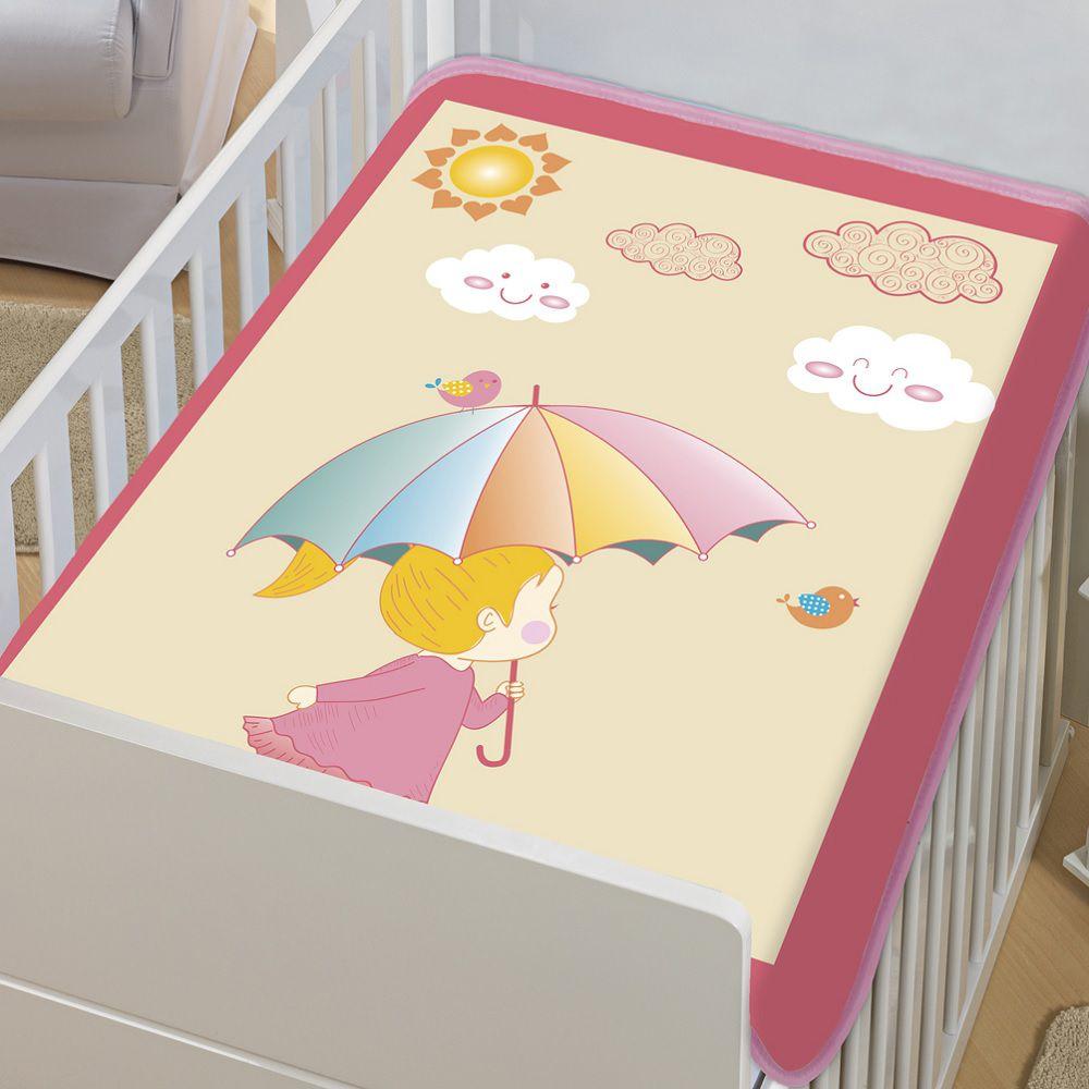 Cobertor Jolitex Infantil Berço Bebê Tradicional Dia de Sol Rosa