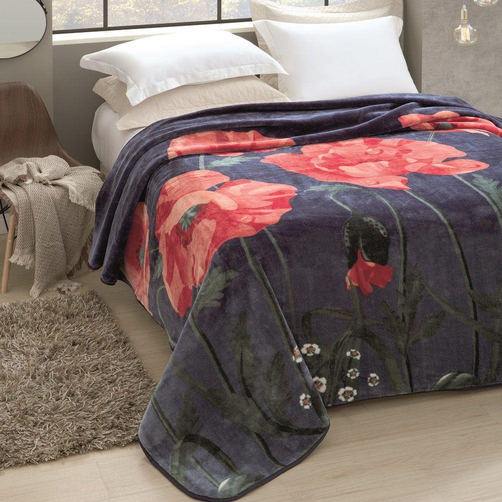 Cobertor Jolitex King Size Raschel Toque Macio Florescer