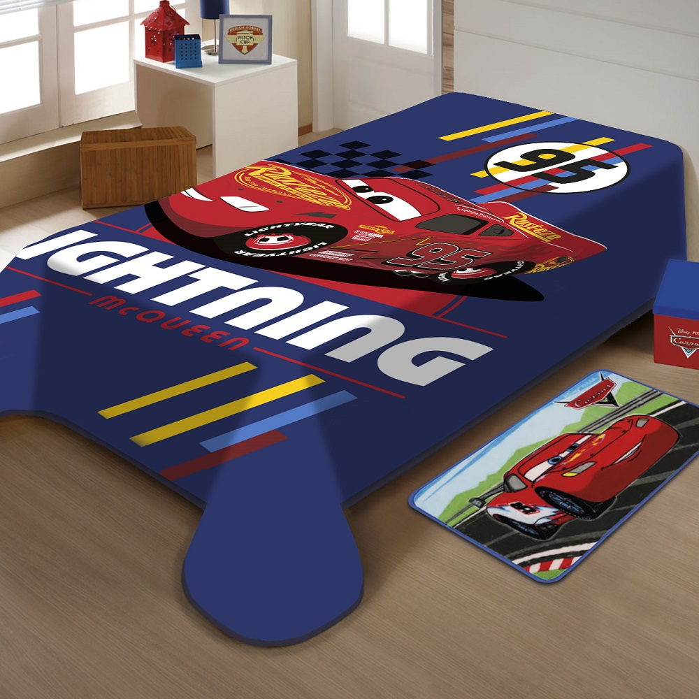 Cobertor Jolitex Solteiro Carros Disney Raschel Plus 1,50x2,00m