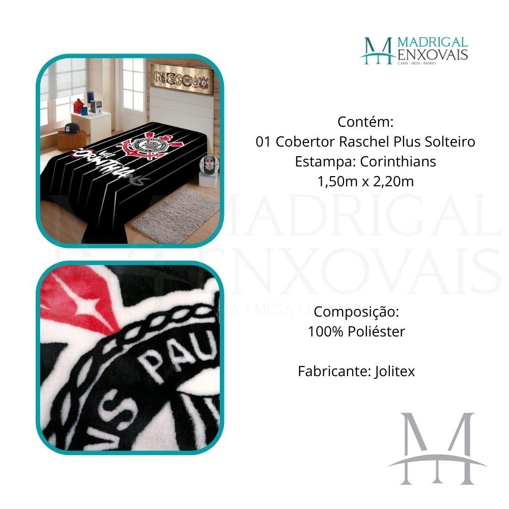 Cobertor Jolitex Solteiro Corinthians Raschel Time Toque Macio