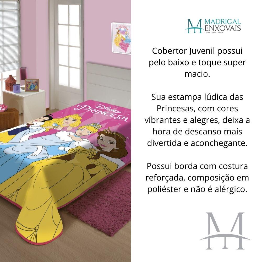 Cobertor Jolitex Solteiro Princesas Disney Raschel Plus 1,50x2,00m