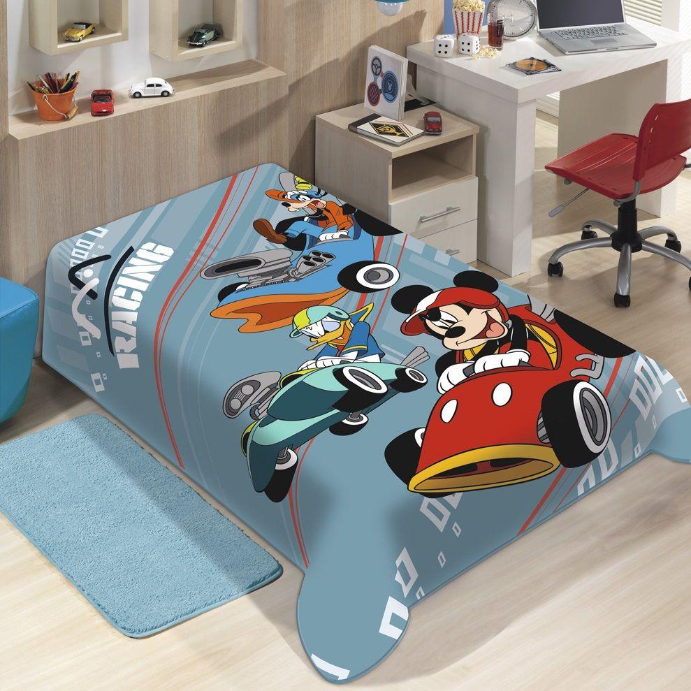 Cobertor Jolitex Solteiro Raschel Macio Disney Mickey Speed