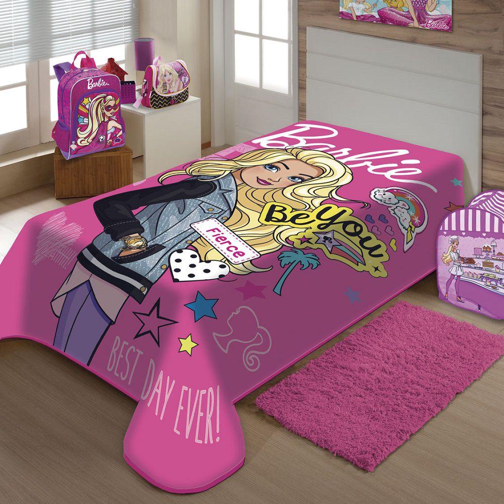 Cobertor Jolitex Solteiro Raschel Toque Macio Barbie Moda