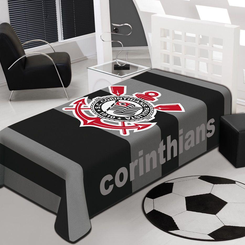 Cobertor Jolitex Solteiro Raschel Toque Macio Time Corinthians