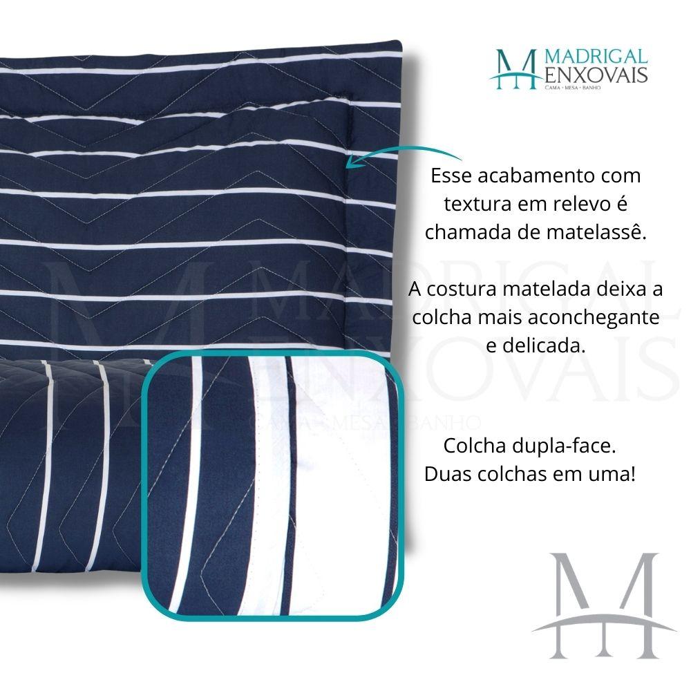 Cobreleito Casal 200 Fios Kacyumara Vida Bela 03 Peças Listras Azul