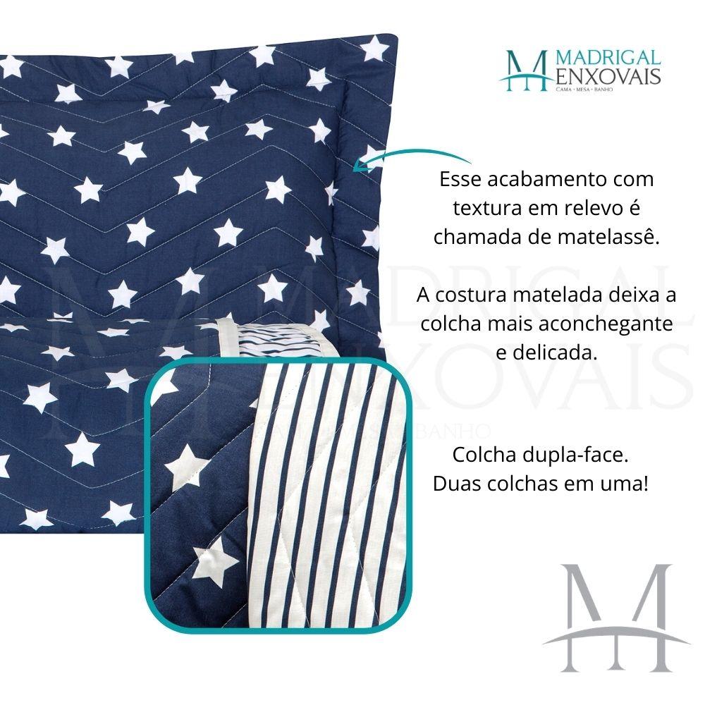 Cobreleito King 200 Fios Kacyumara 03 Peças Vida Bela Star Azul