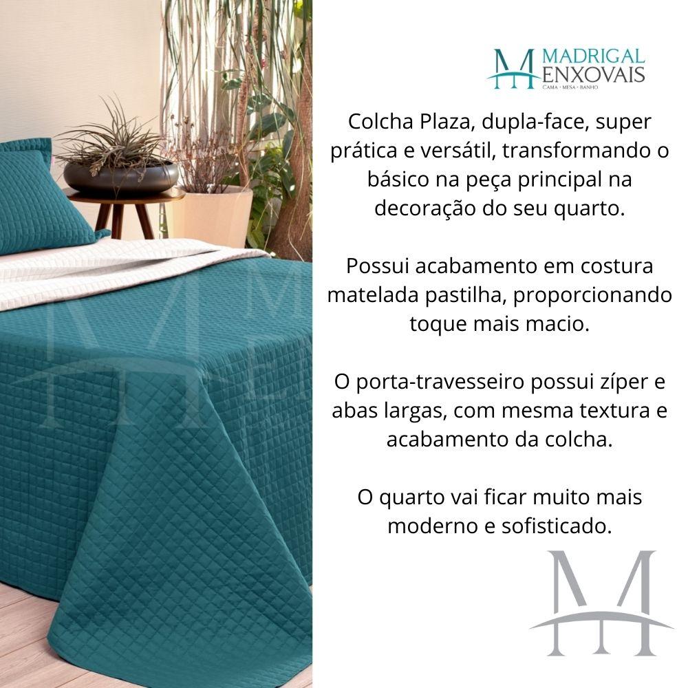 Cobreleito Plaza Lavive Casal 03 Pçs Dupla Face Verde Esmeralda