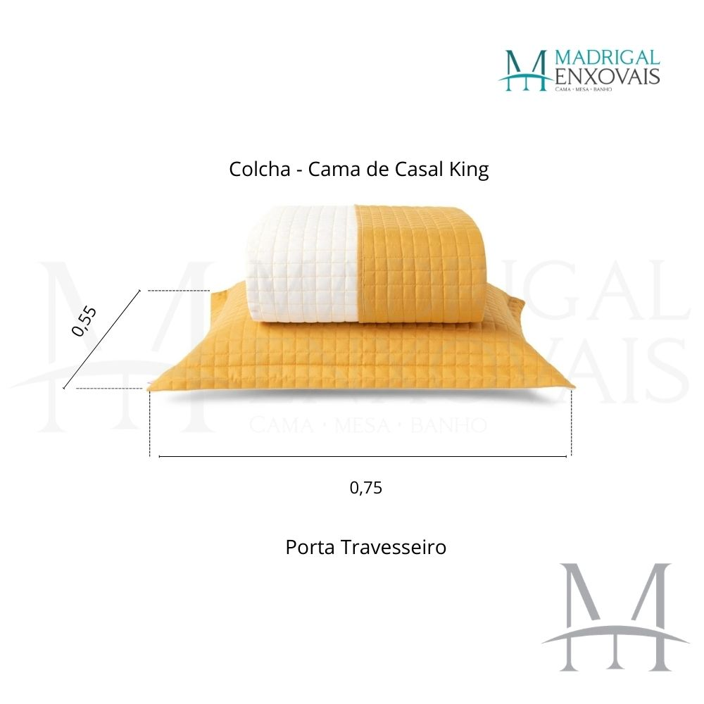 Cobreleito Plaza Lavive King 03 Peças Dupla Face Açafrão