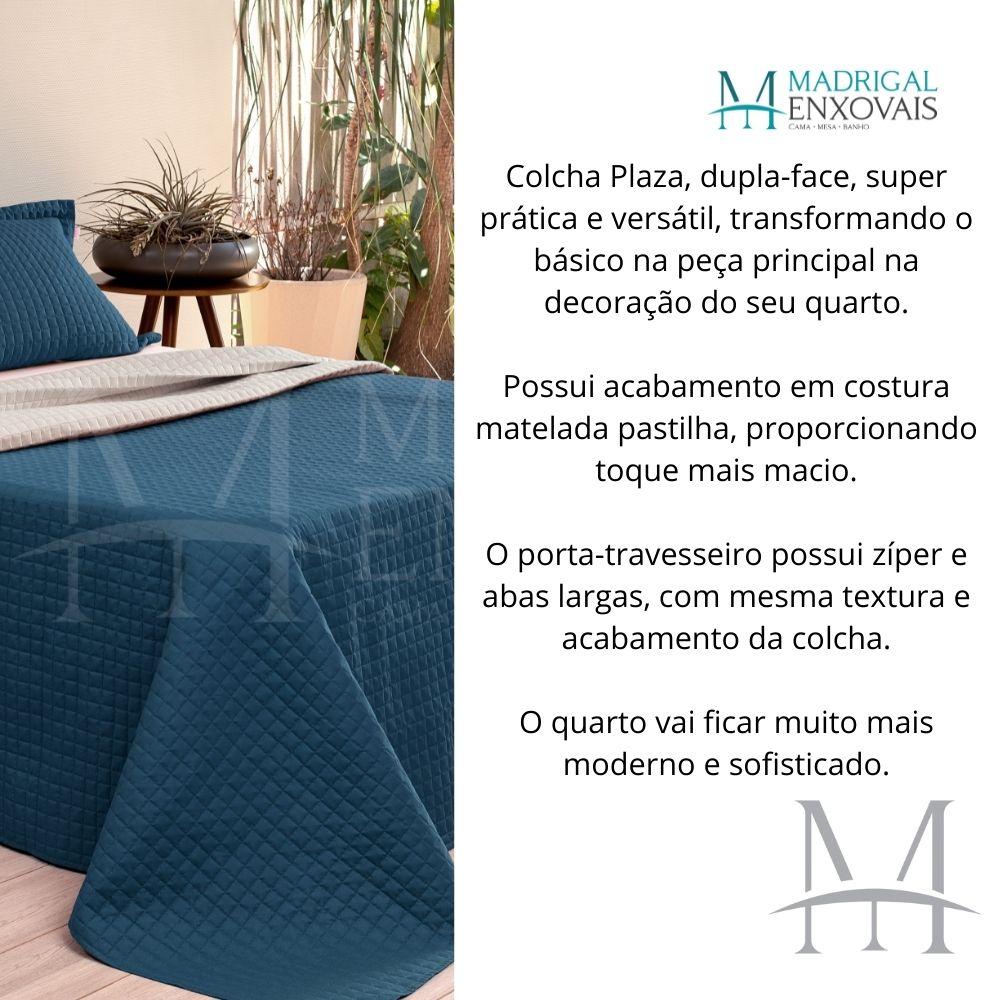 Cobreleito Plaza Lavive Queen 03 Pçs Dupla Face Azul Petróleo