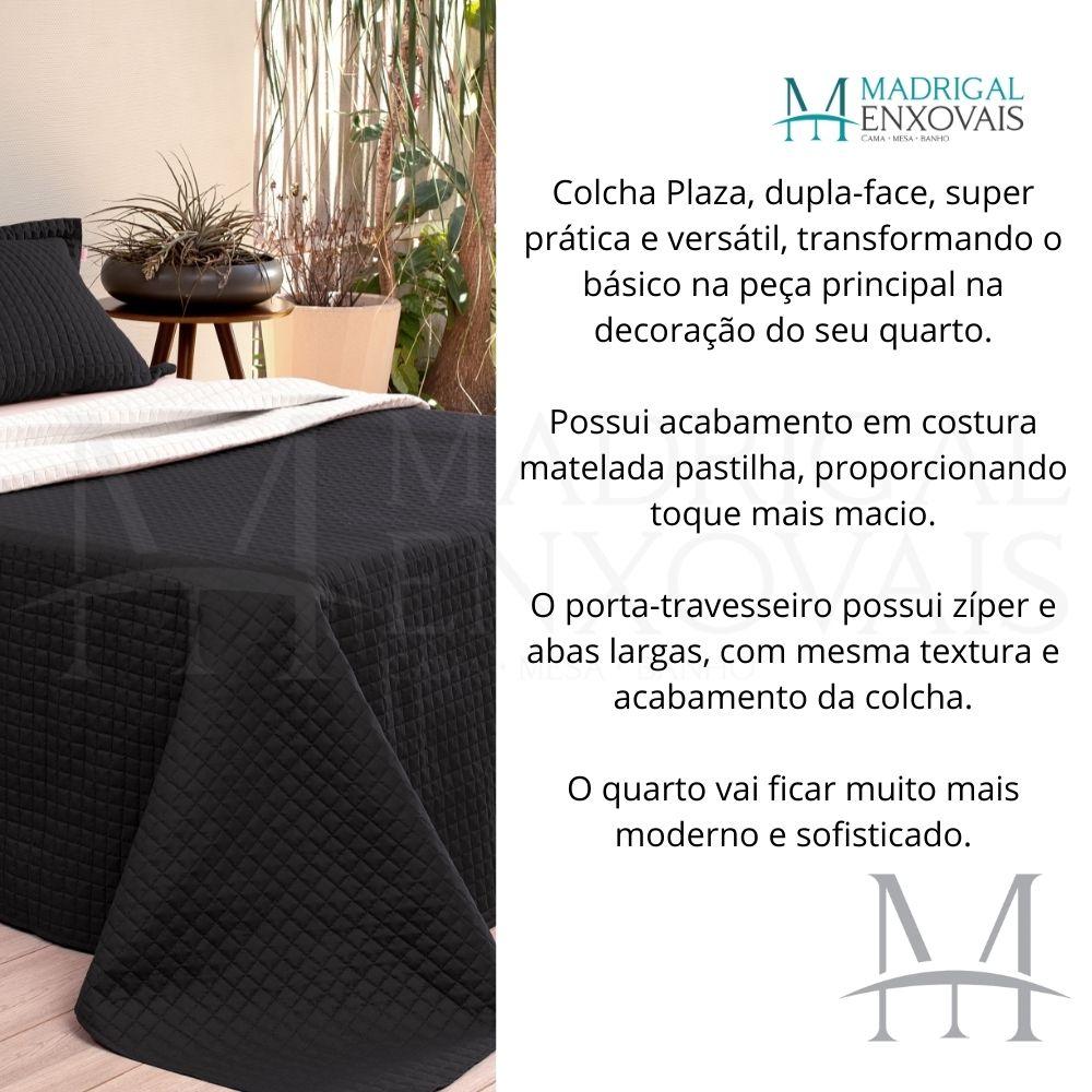 Cobreleito Plaza Lavive Queen 03 Peças Dupla Face Preto