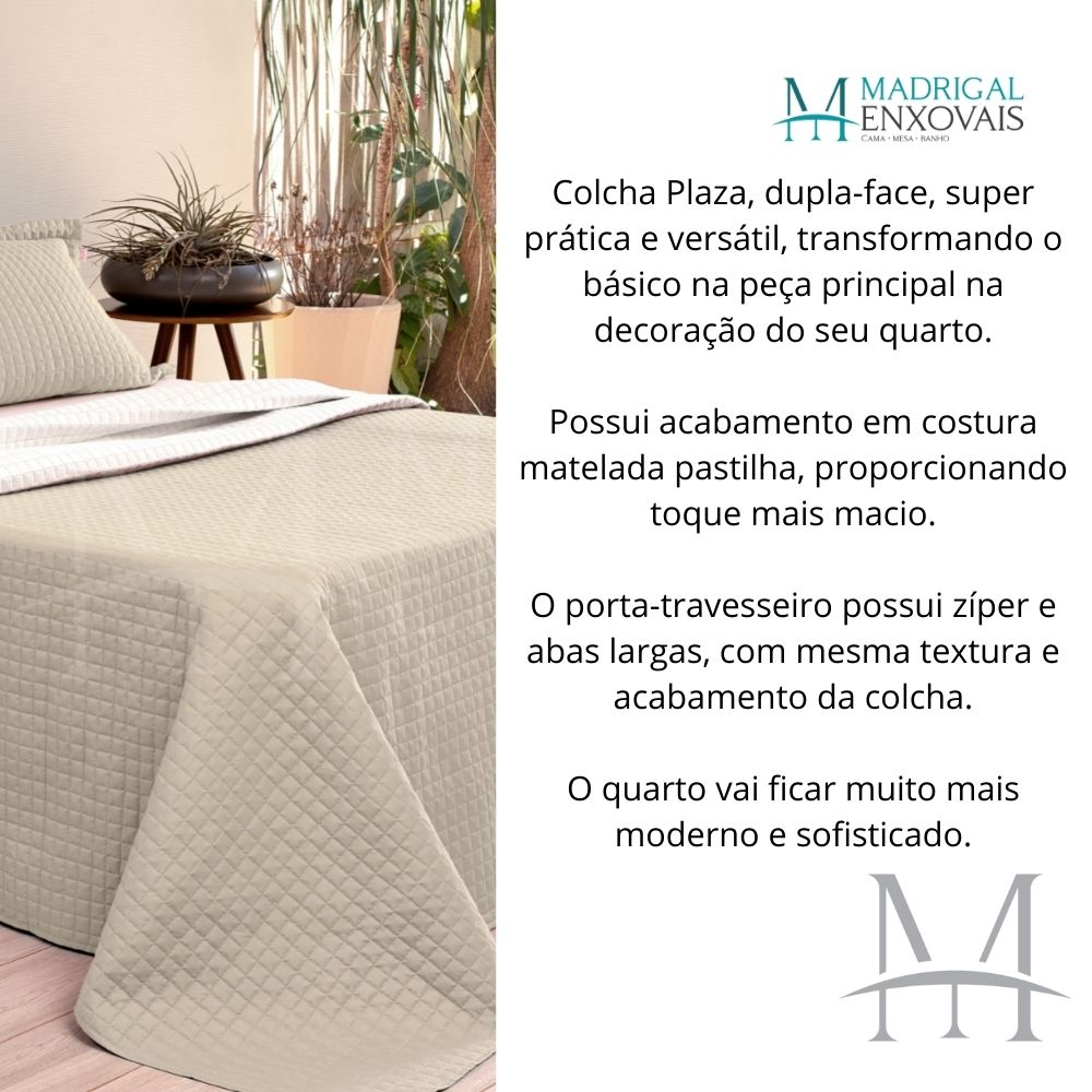 Cobreleito Plaza Lavive Super King 03 Peças Dupla Face Bege Palha