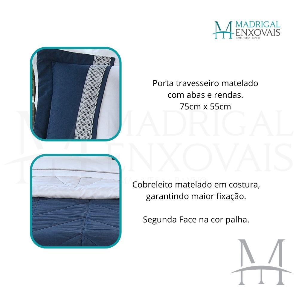 Cobreleito Queen Lavive Melinda 05 Peças Dupla Face Azul Palha