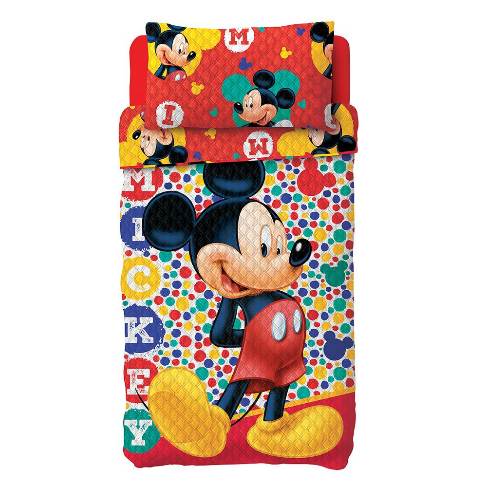 Colcha Bouti Solteiro Infantil Patchwork Mickey 02 Pçs Lepper