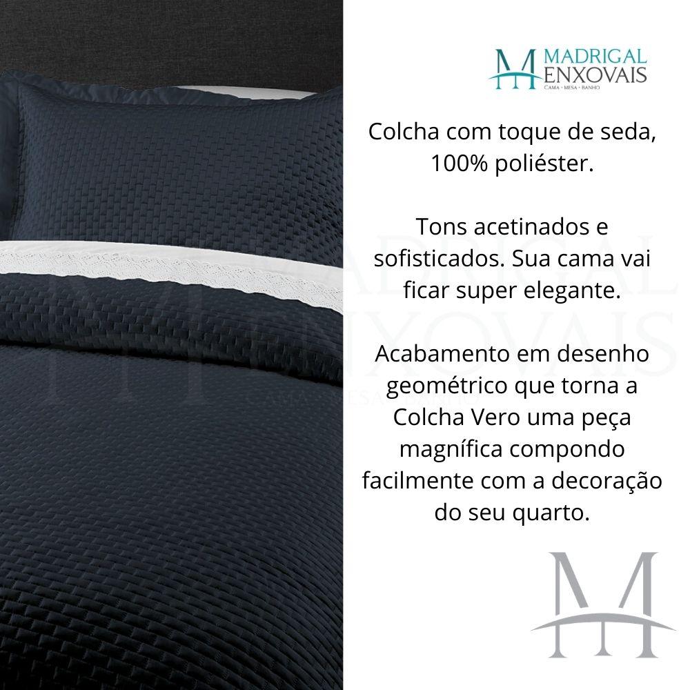 Colcha Casal Kacyumara Tacto Vero Toque de Seda 03 Peças Marinho