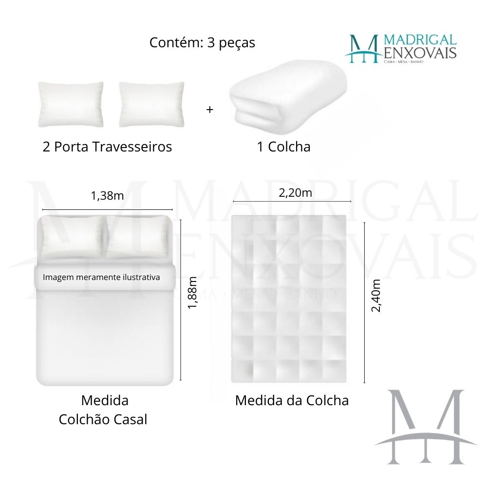 Colcha Casal Patchwork Ultrasonic Dyuri 03 Peças Itajuba