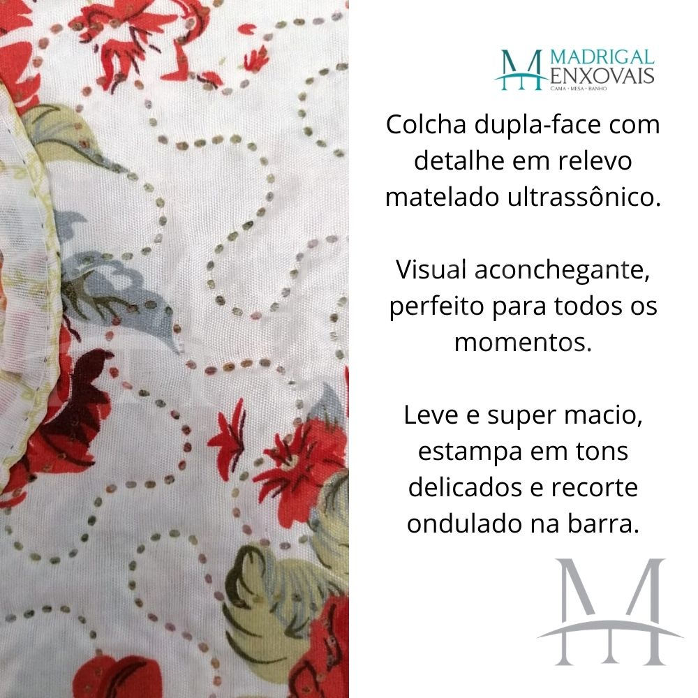 Colcha Casal Patchwork Ultrasonic Dyuri 03 Peças Janauba