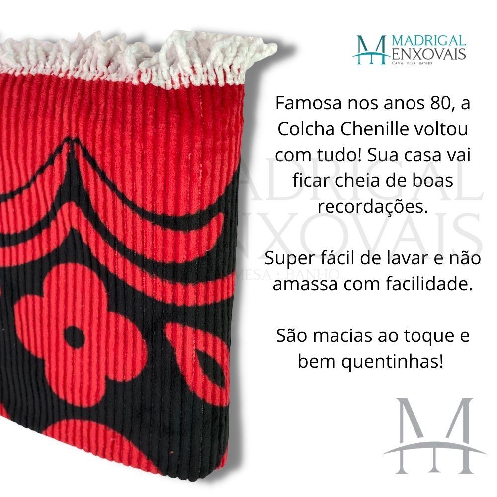 Colcha Chenille Jolitex Casal FLÓRIDA Com Franja 2,20x2,40m Vermelha