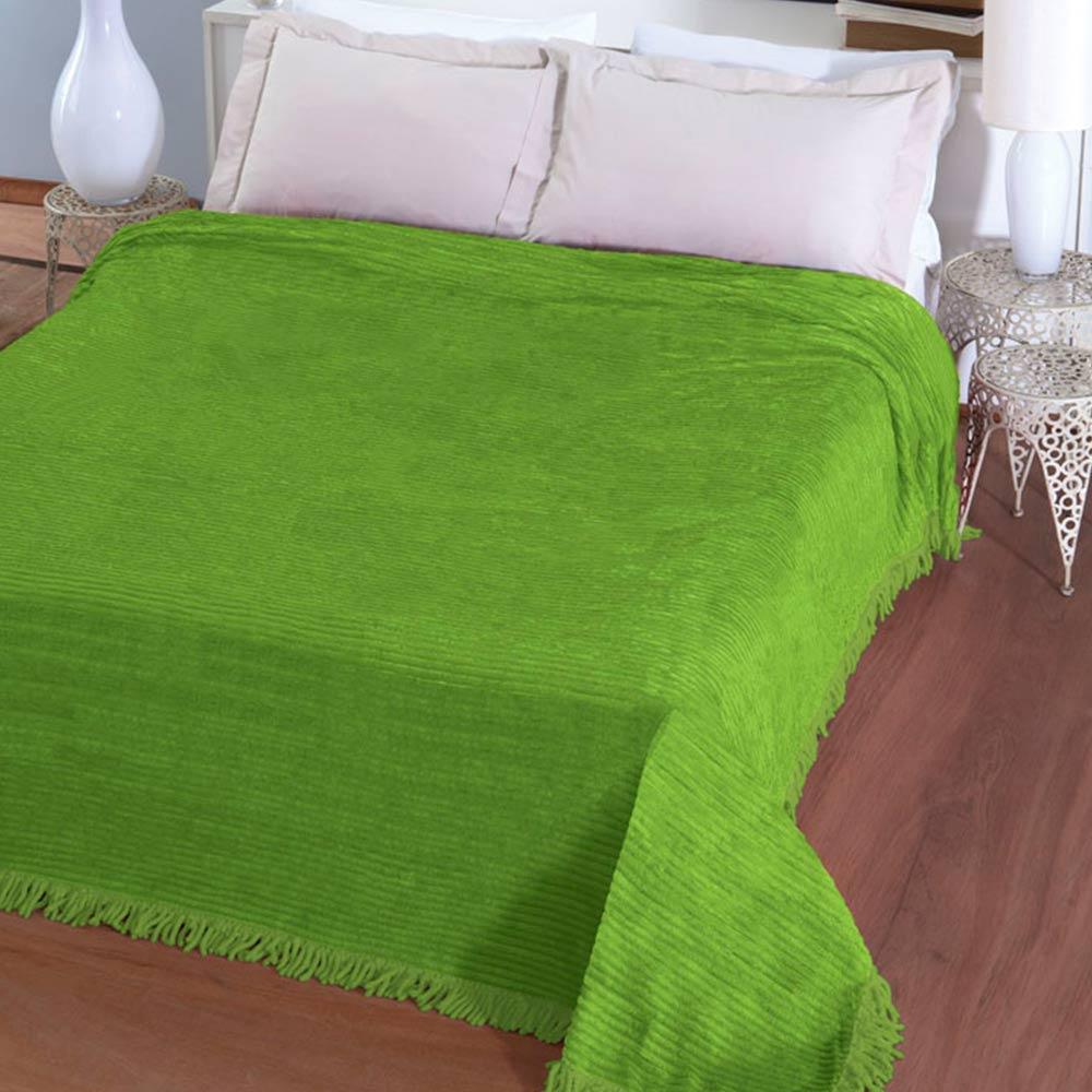 Colcha Chenille Jolitex Lisa Com Franja 2,20x2,40m Verde