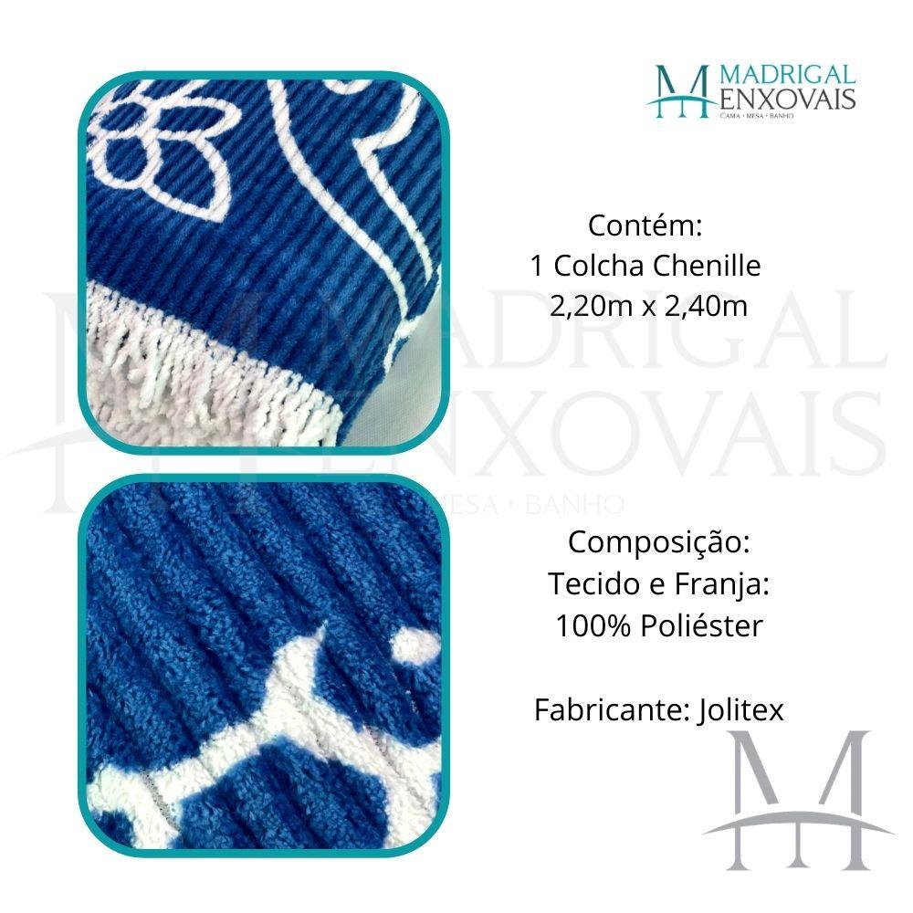 Colcha Chenille Jolitex Queen Com Franja 2,20x2,40m Azul