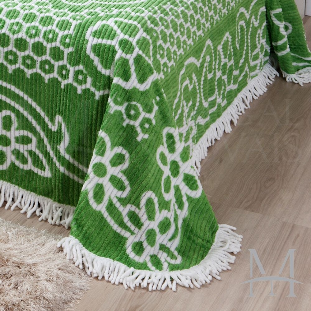 Colcha Chenille Jolitex Queen Com Franja 2,20x2,40m Verde