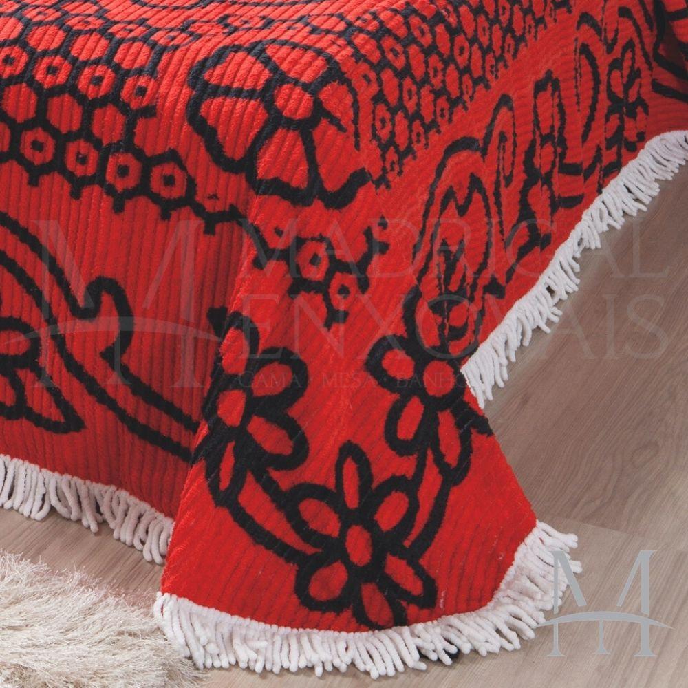 Colcha Chenille Jolitex Queen Com Franja 2,20x2,40m Vermelha