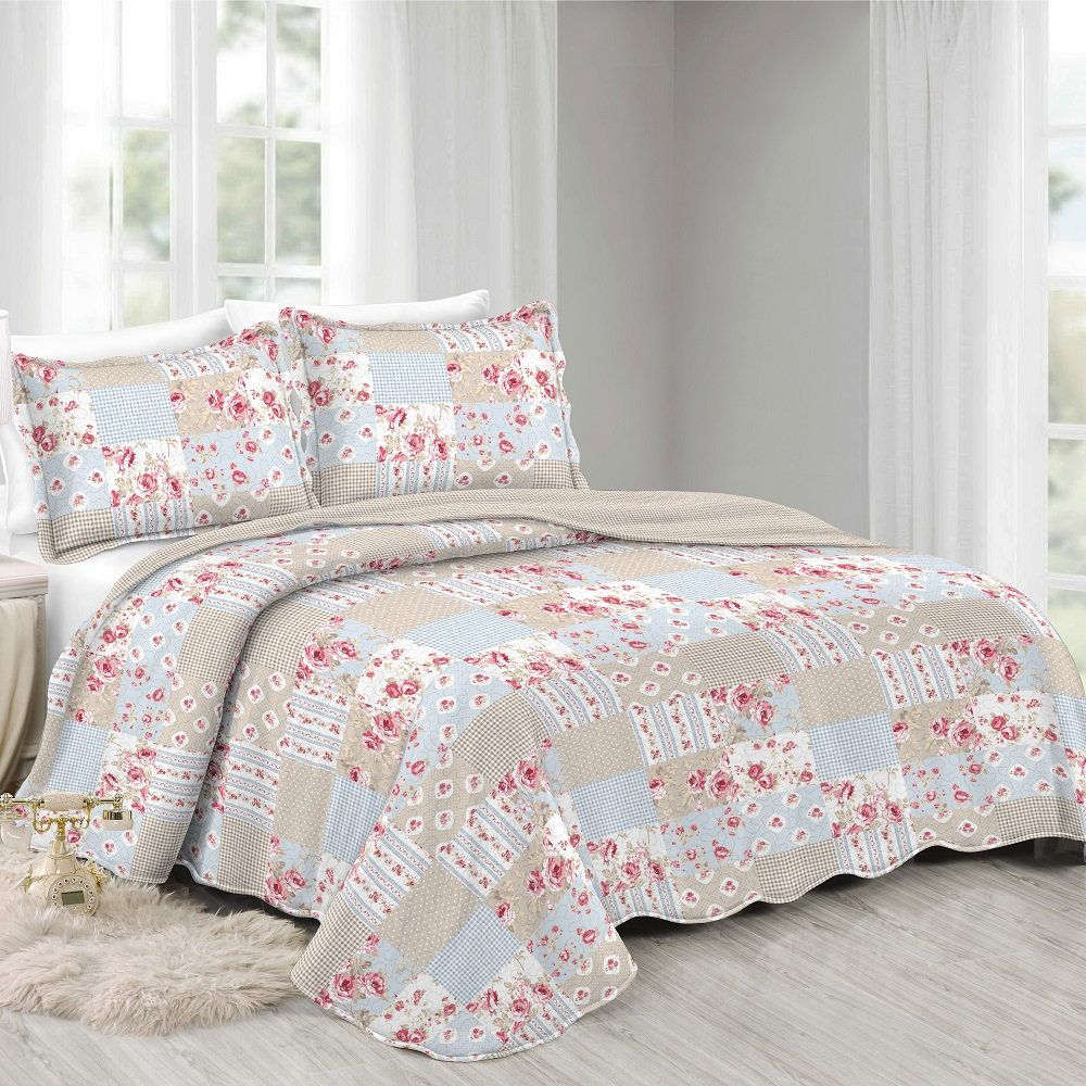 Colcha King Patchwork Evolution Camesa 03 Pçs Azalea