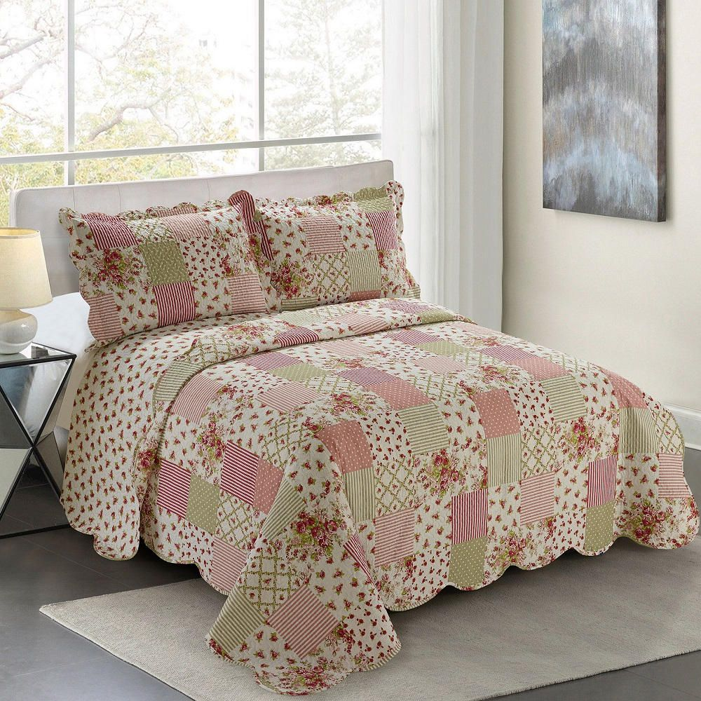 Colcha King Patchwork Evolution Camesa 03 Pçs Begonia