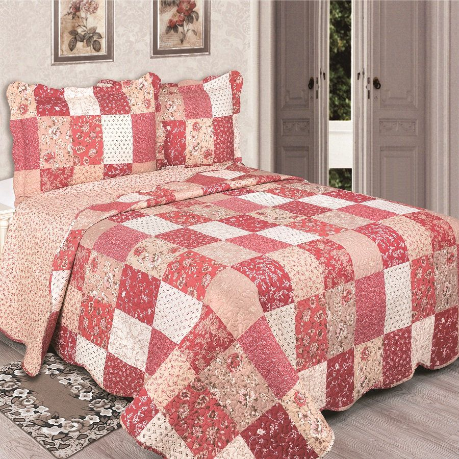 Colcha King Patchwork Evolution Camesa 03 Pçs Sarina