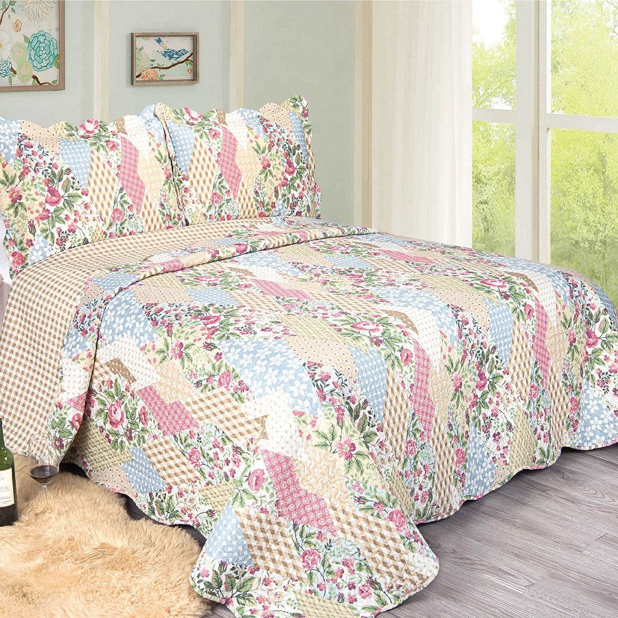 Colcha King Patchwork Evolution Camesa 03 Pçs Uttica