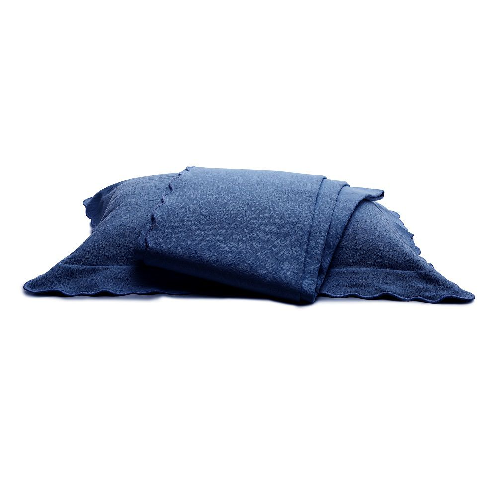 Colcha Piquet Casal Tognato Capela 100% Algodão Azul Marino