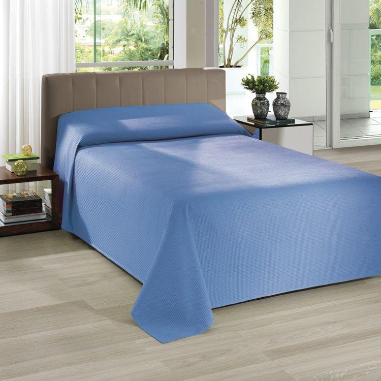 Colcha Piquet Favo Casal Dohler Lisa Azul 2,20x2,50m