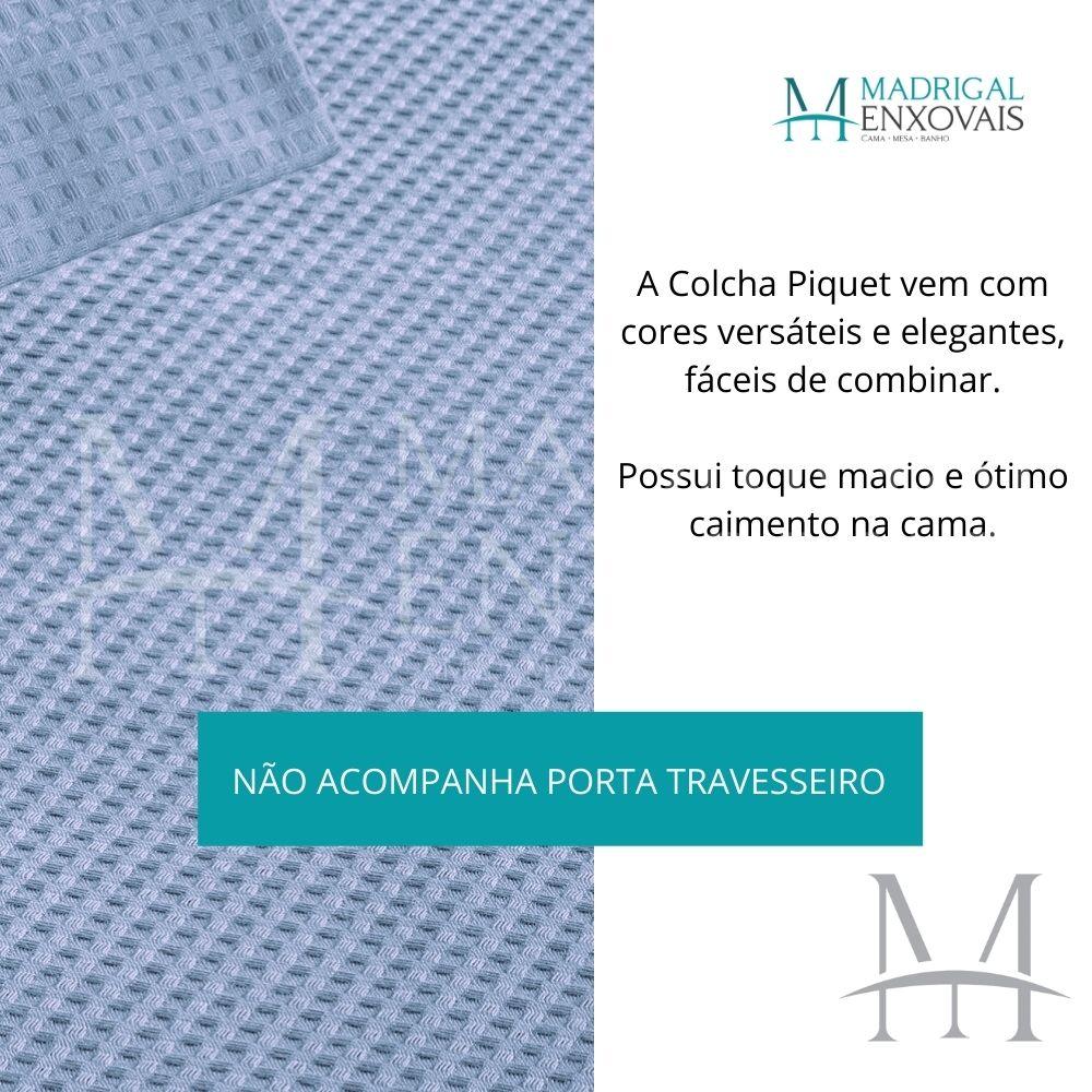 Colcha Piquet Favo Casal Teka Gênova Lisa 2,20x2,40m Azul Claro