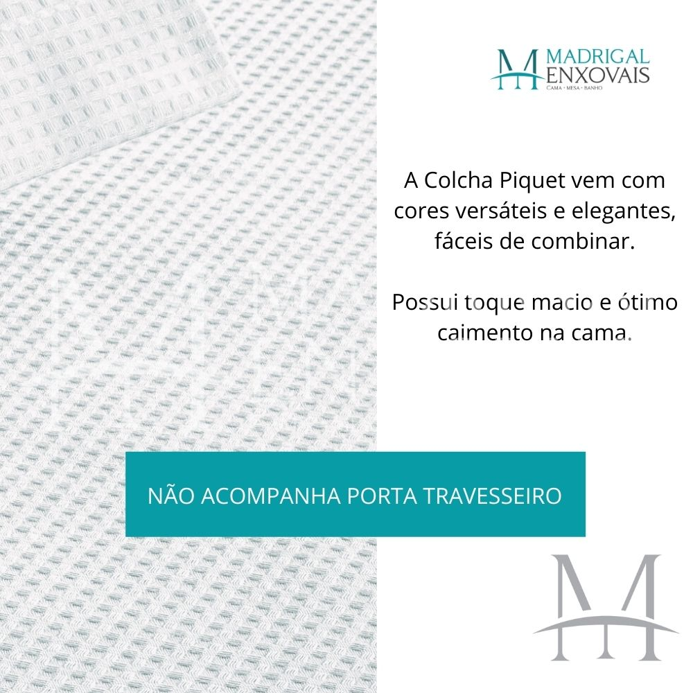 Colcha Piquet Favo Casal Teka Gênova Lisa 2,20x2,40m Branca